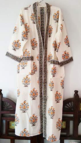 Tangerine Orange Mughal Floral Hand block print Indian cotton Long Kimono robe One - Print Hand Block