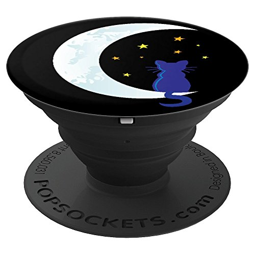 Halloween Crescent Moon Stars Black Cat Spooky Night - PopSockets Grip and Stand for Phones and Tablets