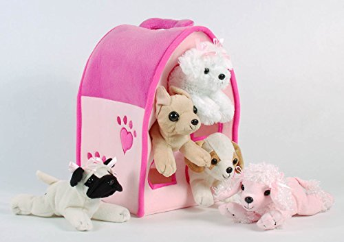 (Plush Pink Dog House with Dogs - Five (5) Stuffed Animal Dogs in Pink Play Dog House Case)