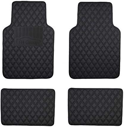 FH Group Premium Custom-fit All-Season Heavy-Duty Faux Leather Diamond Rear Car Floor Mat Liner w. Anti-Skid/Slip Backing, Black Color for 2016-Present Audi A4 Sedan