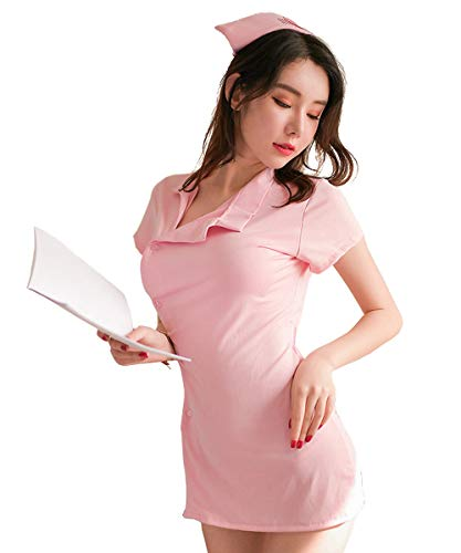 Aedericoe Nurse Costume Naughty Nursing Lingerie Uniforms Cute Women Nurse Outfit Dress Pink]()