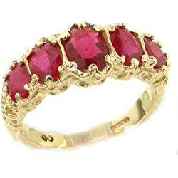 14k Yellow Gold Natural Ruby Womens Band Ring - Sizes 4 to 12 Available