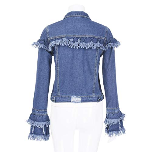 Liraly Womens Tops Clearance! New Fashion Womens Sexy Long Sleeve Cowboy Fashion Coat Bllouse Button T-Shirt Tank Tops(US-8 /CN-L,Blue) by Liraly (Image #4)