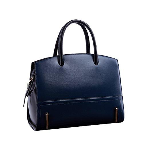 Moonwalk Womens Leather Solid Top-handle Handbag Crossbody Shoulder Satchel Tote Bag With Strap (navy)