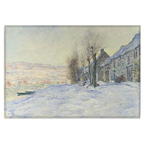 (AbundanceHomeDesign Lavacourt Under Snow by Claude-Oscar Monet/Printed on Premium Fabric Poster/Tapestry Wall Hanging for Wall Decor/Famous Painting Art Collection/S M L Sizes - Small 17.32