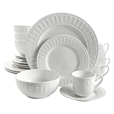 Gibson Home 20 Piece Regalia Dinnerware Set, White
