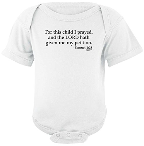 Funny Baby Gifts For This Child I Prayed Bible Verse Bodysuit 12 Months White
