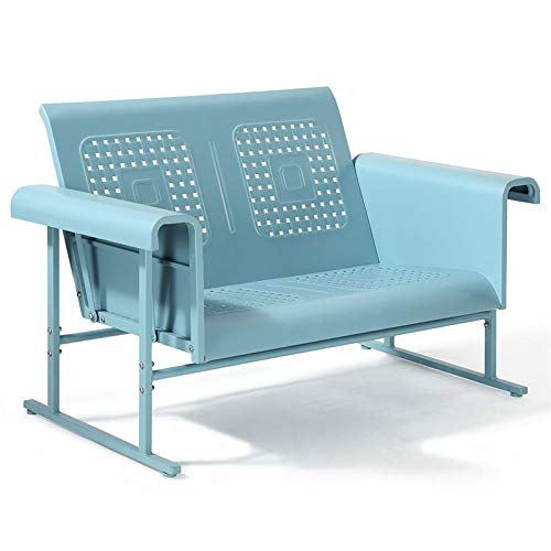 Crosley Furniture Veranda Patio Gliding Loveseat in Caribbean Blue