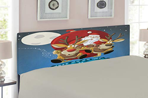 Sleigh Full Bed Metal Size (Lunarable Christmas Headboard for Full Size Bed, Santa on Sleigh with Rudolf Over City Humor Cartoon Style Universal Moon Stars, Upholstered Metal Headboard for Bedroom Decor, Multicolor)