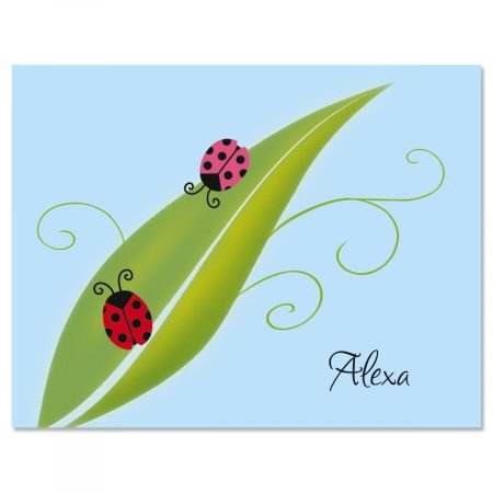 Ladybug Party Custom Note Cards - Set of 12 4-1/4'' x 5-1/2'' blank inside cards come with white envelopes