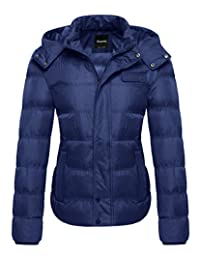 Wantdo Women's Winter Padded Cotton Jacket with Removable Hood