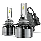 9012 LED Headlight Bulbs Conversion Kit, Marsauto M2 Series Super Bright High Low Beam with Fans, Anti-Flickering CANbus-Ready IP67 CSP Chips 10000LM 6000K Xenon White 2-Pack