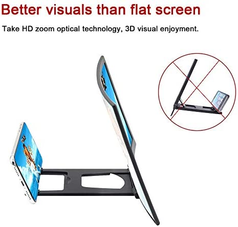 """12"""" 3D Curve Screen Magnifier for Cell Phone, HD Amplifier Projector Magnifing Screen Enlarger for Movies, Videos, and Gaming with Foldable Stand Compatible with All Smartphones (Black, 12 inch) 41yjQidGhWL"""