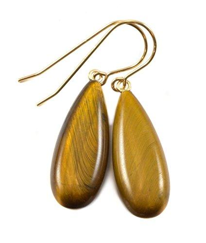14k Gold Filled Tiger's Eye Earrings Smooth Long Golden Teardrop Simple Dangle Drops