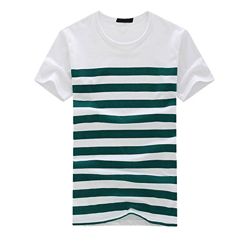 Men's Classics Striped T Shirt Crew Neck Short Sleeve Summer Casual Pullover Tee Top (M, Green)