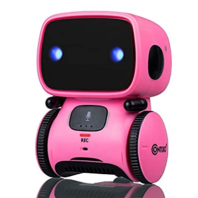 Contixo R1 Kids Robot Toy for Boys Girls   Talking Interactive Voice Controlled Touch Sensor Dancing Singing Voice Recorder Funny Humor Speech Recognition for Infant Toddler Children Robotics - Pink