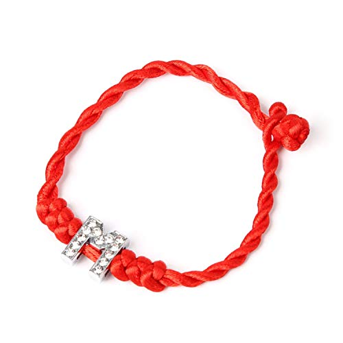 DLNCTD 26 English Alphabet A-S Valentine's Day Lucky Rope Cord Crystal Letters Red String Couple Bracelets for Lovers,M