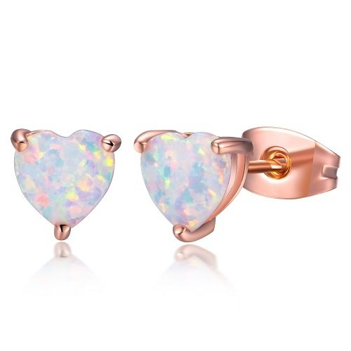 OPALBEST Heart Shaped October Birthstone Simulated Opal Stud Earrings for Women and Girls(Rose Gold, 1-Pair)