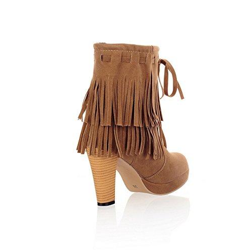 Platform Leather Brown Bandage BalaMasa Imitated Boots Girls Tassels 5n7wRfzq