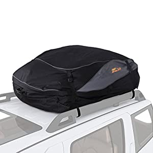 SPAuto Car Cargo Roof Bag - Waterproof Duty Car Roof Top Carrier - Easy to Install Soft Rooftop Luggage Carriers with Wide Straps - Folds Easy (15 Cubic Feet)