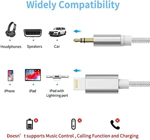 Aux Cable for Car for iPhone 11//X//XS//8//8Plus//7//7Plus//Jack to 3.5mm Male Audio Adapter for Headphones Jack Cable Aux Cord for Car Stereo Speaker Compatible with All iOS Systems 3.3ft-Silver Headphone
