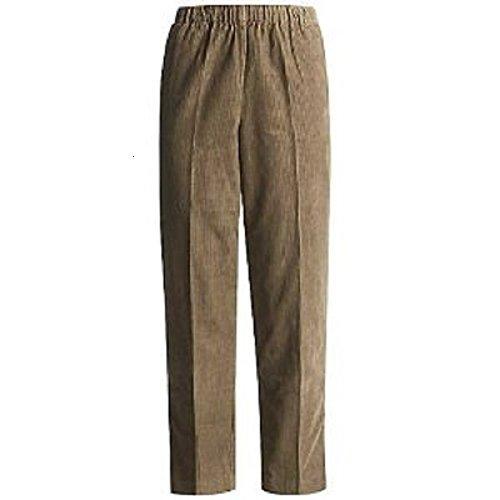 Alfred Dunner Women's Classic Short Length Cord Pant, Tan, 14