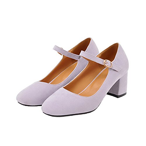 Frosted WeiPoot Women's Heels Closed Pointed Buckle Purple Kitten Toe Shoes Solid Pumps En7EIx4r