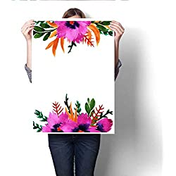 """Anshesix Canvas Wall Art Watercolor Violet Flowers Hand Painted Floral Template Card Art Stickers 20""""x28"""""""