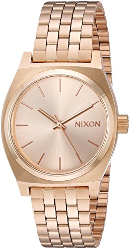 NIXON Medium Time Teller A1130 - All Gold - 100m Water Resistant Women's Analog Classic Watch (31mm Watch Face, 16mm-15mm Stainless Steel -
