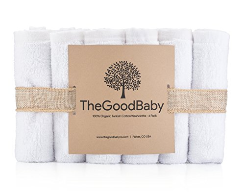 100% Organic Turkish Cotton Baby Washcloths by The Good Baby - 6 Pack