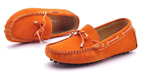 Minitoo Women's Lace Up Comfortable Suede Loafers Flats Orange nXH7bGTGS
