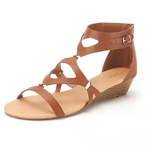 DREAM PAIRS VEENUS Women's Summer Cutout Low Heel Ankle/Zipper Side Buckle Gladiator Inspired Flat Sandals TAN SIZE 7.5