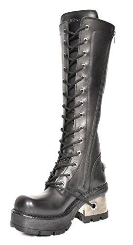 Nieuwe Rock Gotische Dame Biker Stijl Knielengte Laarzen Zwart Platformhielen Leren Schoenen