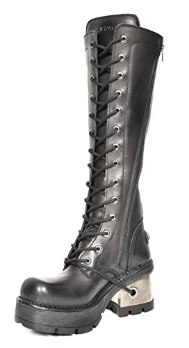 Gothic Style Black Leather Shoes Womens Rock Length New Biker Heel Knee Boots Platform qxBEwOI8
