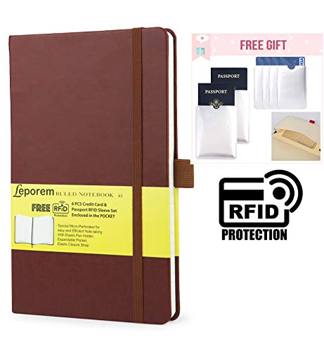 Business Notebook - Premium Silky Writing Hardcover Ruled Notebook with Free 6 RF Blocking Sleeve, Lined Journal with Pen Loop, Pocket, Band, Ribbon & Thick Paper, A5 Bound Classic College Notebook
