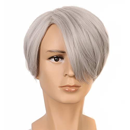 Yuehong Short Mens Synthetic Hair Peruca Cosplay Wig]()