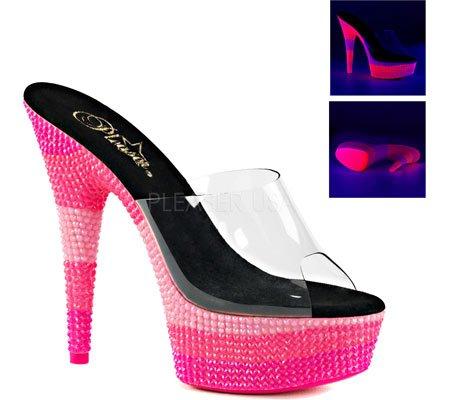 Pleaser DELIGHT-601UVS - Zuecos para mujer Clr/Neon Multi H. Pink