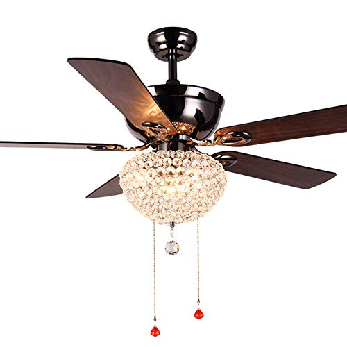 - ZAQ Ceiling Fan with Light and Remote Control, Crystal Pendant Lamp with 3 Lights 5 Wood Fan Blades for Living Room Dining Room
