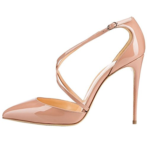 Talon Cheville Femme Aiguille Soiree EDEFS Cuir Chaussures Beige Synthétique Sexy Bride Club Brillant Escarpins q8wztxH