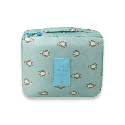 (Zhenxinmei Portable Makeup Bag Multi-function Beautiful Durable Toiletry Case Travel Organizer Cosmetic Pouch for women (Blue))