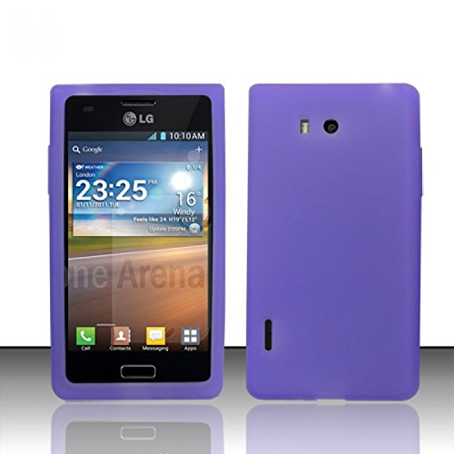 Cell Accessories For Less (TM) For LG Splendor / Venice US730 / Optimus Showtime L86C (Boost, U.S.Cellular, Net 10, StraightTalk) Silicon Skin Cases - Purple SC + Bundle (Stylus & Micro Cleaning Cloth) - By TheTargetBuys