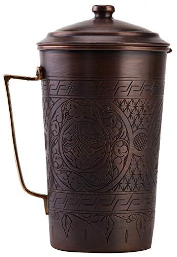 per Handmade Engraved Copper Pitcher Vessel Ayurveda Jug with Lid for Drinking Water, Moscow Mule, Cocktail (Antiqued Copper) ()