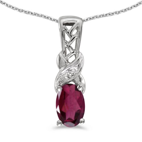 0.49 Ct Princess Shape - 0.49 Carat (ctw) 10k White Gold Oval Red Rhodolite-Garnet and Diamond Women's Solitaire Pendant with 18