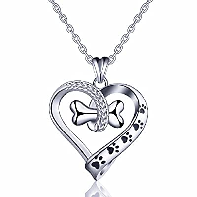 "EUDORA Sterling Silver Necklace Cute Dog's Paws with Bone - Heart Shape Pendant 18"" Rolo Chain"
