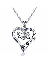 """EUDORA 925 Sterling Silver Necklace Cute Dog Paws with Bone, Heart Shape Pendant 18"""", Gift for Dog Owner"""