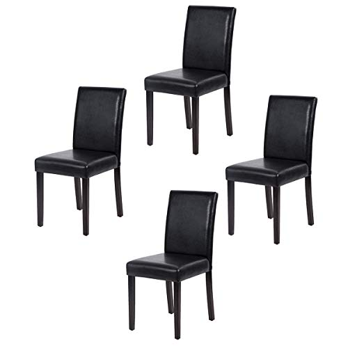FDW Set of 4 Urban Style Leather Dining Chairs with Solid Wood Legs Chair