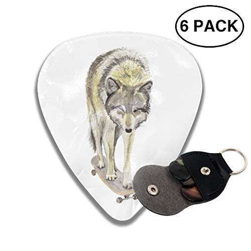 351 Shape Medium Classic Celluloid Picks, 6 Pack, Wolf On Skateboard Guitar Picks for electric guitar, acoustic guitar, mandolin, and bass