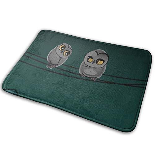 Jingclor Welcome Doormat, Entrance Floor Mat Rug Indoor Outdoor Front Door Mat with Non-Slip Rubber Backing, Printing Doormats with Cartoon Owl Talking, 15.8''WX23.6''L]()