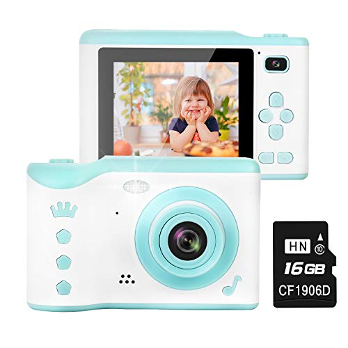 Kids Camera, 8.0MP Creative Digital Dual Camera, Rechargeable Children Camcorder with 2.8'' Touch Screen, 4X Digital Zoom, Gift for 3-12 Years Old Girls Boys Party Outdoor, Blue(16GB TF Card Included)