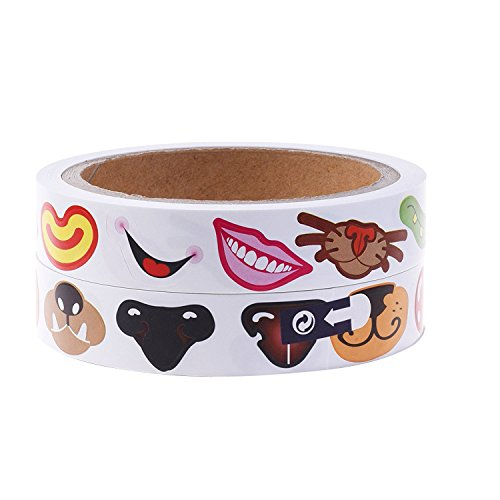 Lependor Colorful Nose Stickers Labels -600 Pcs & Colorful Mouth Stickers Labels -600 Pcs (Two Rolls)